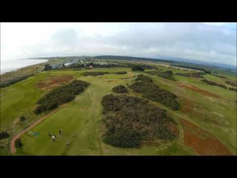 Aerial video of Powfoot Golf Club on Solway Firth near Annan SW Scotland.