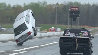Turbo Mustang Almost Backflips at Piedmont Dragway!!