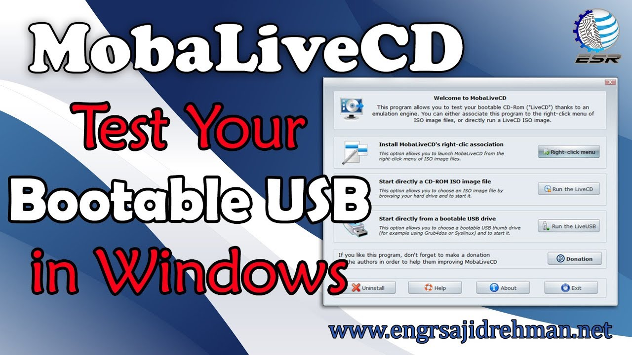 MobaLiveCD Run Bootable USB  on Windows
