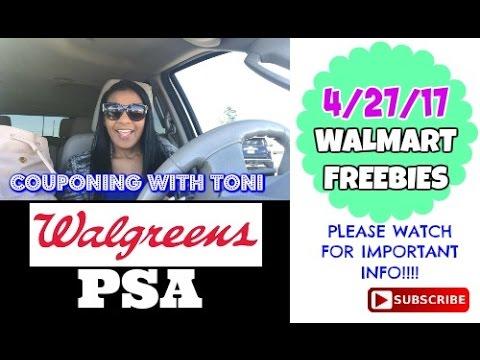 Walmart Freebies 4/27/17 & WALGREENS PSA - PLEASE WATCH THIS!!!
