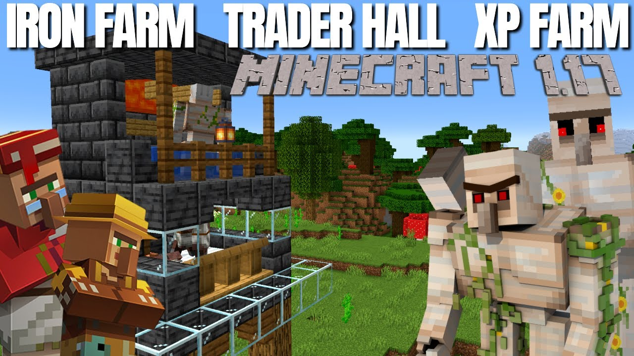 Minecraft 1.17 Iron Farm Villager Trading Hall & XP Farm Combined | Block by Block Tutorial (2021)