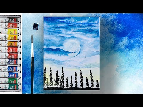 Beautiful Watercolor painting tutorial of landscape scenery step by step / #33