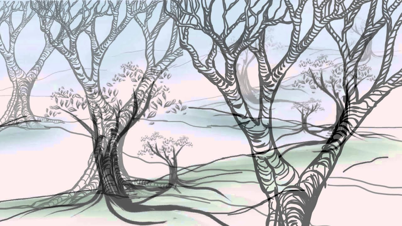 hight resolution of drawing deciduous trees