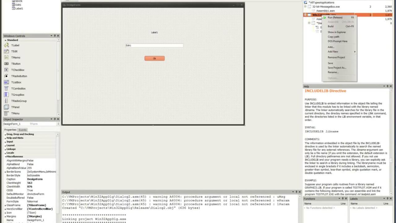 Visual MASM - 32-bit Windows Dialog Application