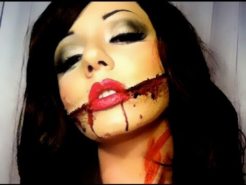 SLASHED MOUTH GORY MAKEUP TUTORIAL HALLOWEEN thumbnail