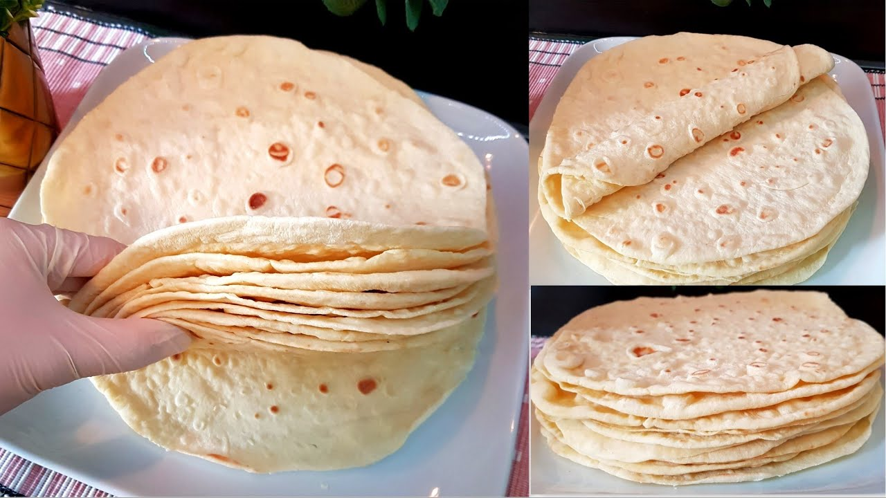 خبز التورتيلا عالصاج او خبز الساندويش بطريقه سهله وببضل معكم عدة ايام طري