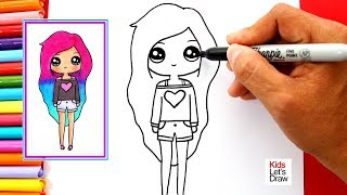 Cómo dibujar y pintar una CHICA TUMBLR fácil | Learn to Draw a Cute Tumblr Girl