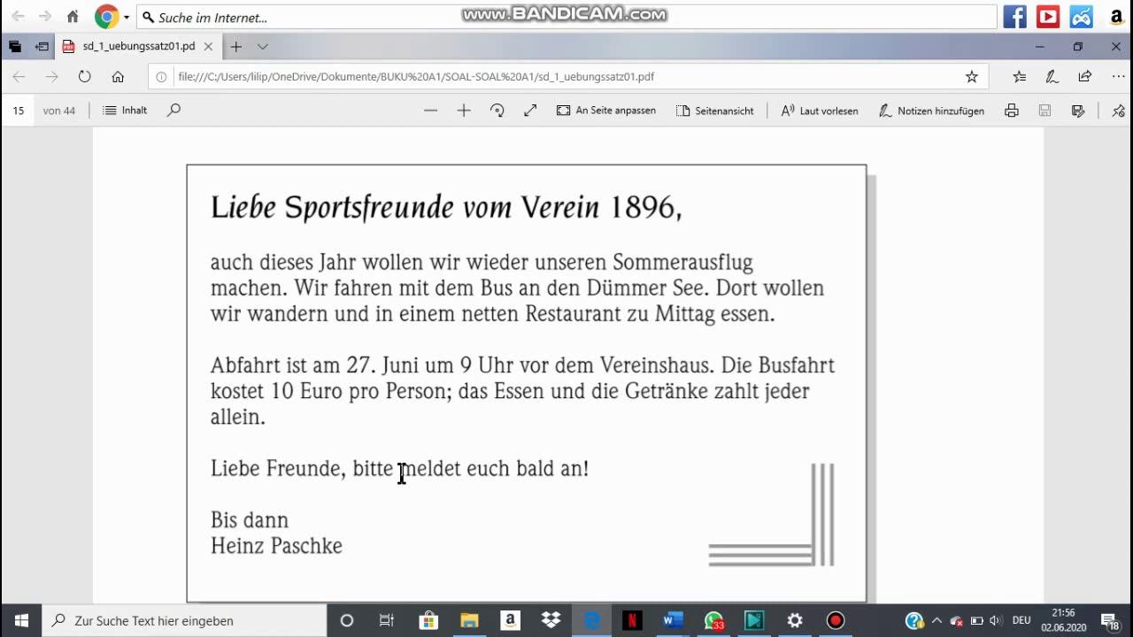 Goethe A1 Übungssatz 01 (LESEN) - YouTube
