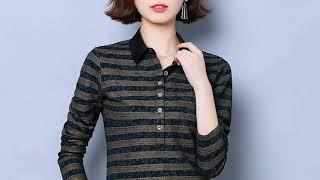 가을 패션 여성 블라우스 한국어 여자 스트라이프 셔츠 …