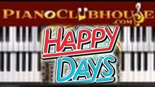 HAPPY DAYS - TV Theme Song (easy piano tutorial lesson)N