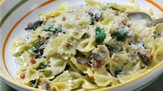 Farfalle, Spinach, Mushrooms and Pancetta   Rossellas Cooking with Nonna