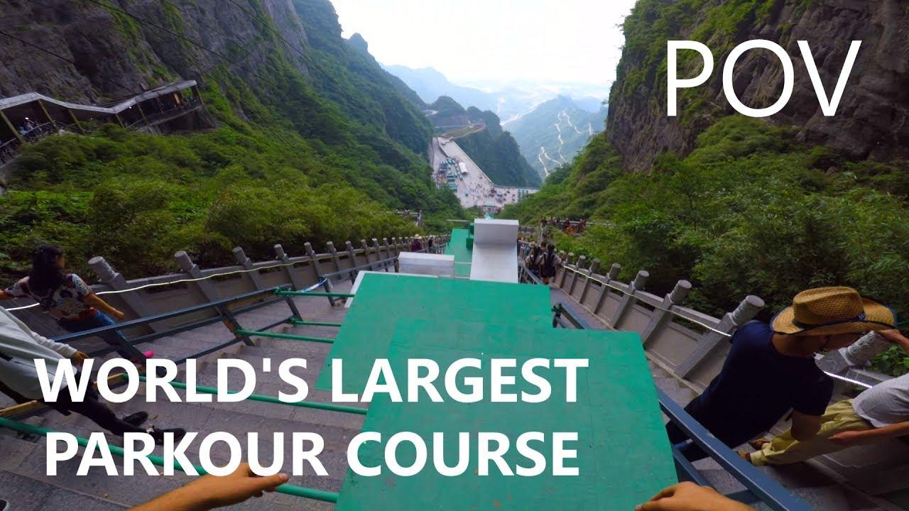 POV Full Run - WORLD'S LARGEST PARKOUR COURSE | Calen Chan ...
