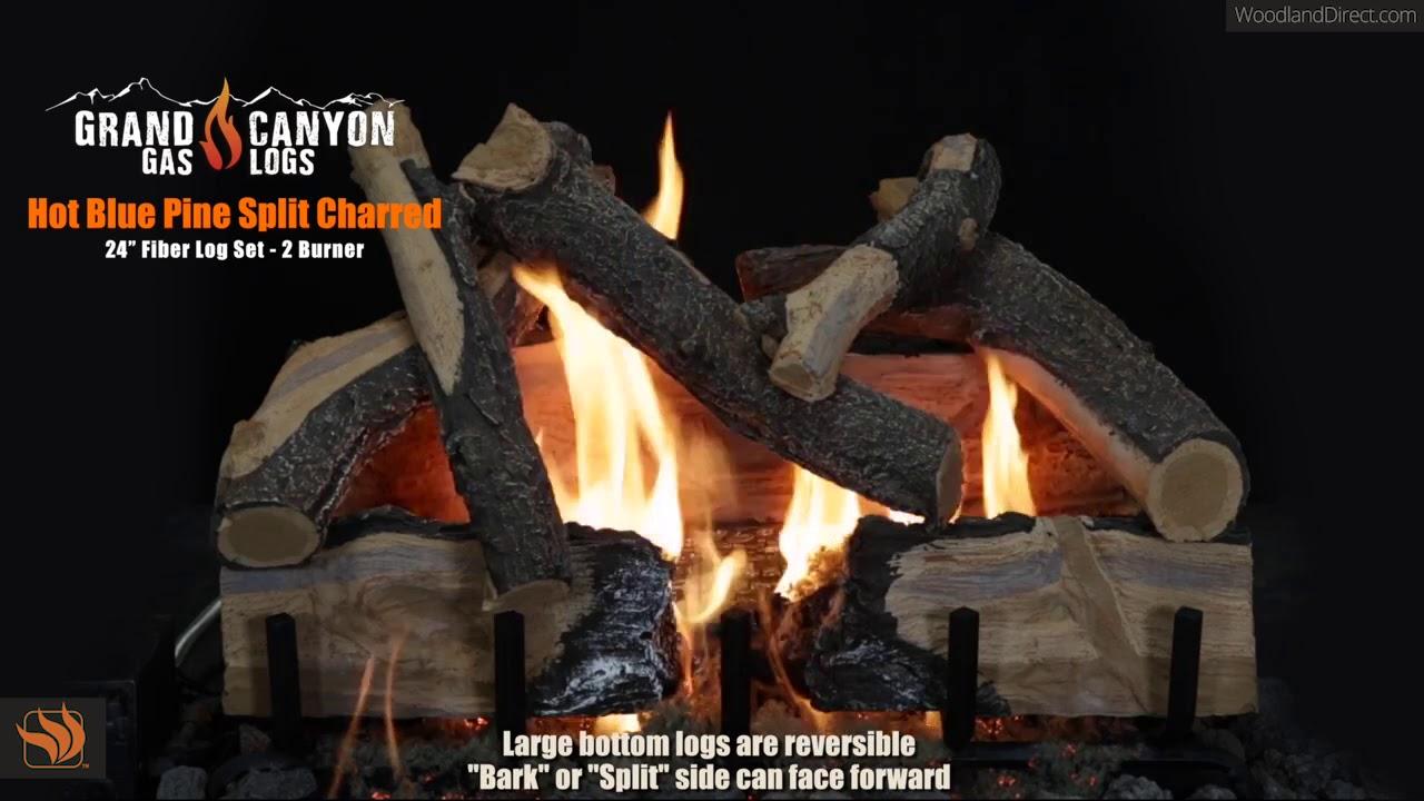 Hot Blue Pine Split Charred Fiber 24 Gas Log Set 2 Burner