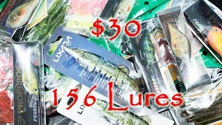 $30 for 156 lures!  Top budget lure from AliExpress soft bait Crank bait Artificial worm Swimbait
