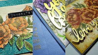 3D embossing & resist spray focused cards with SSS  Beautiful flowers stamp [GIVEAWAY]