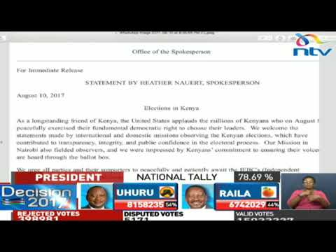 Statement from the US Department of State on elections in Kenya