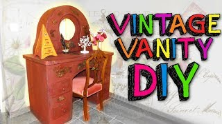 CARDBOARD FURNITURES: AWESOME VINTAGE VANITY WITH MIRROR DIY ONLY USING CARTON BOXES
