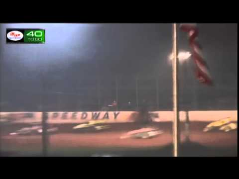 USAC driver Kevin Thomas Jr flips at Amsoil Speedway, Superior WI