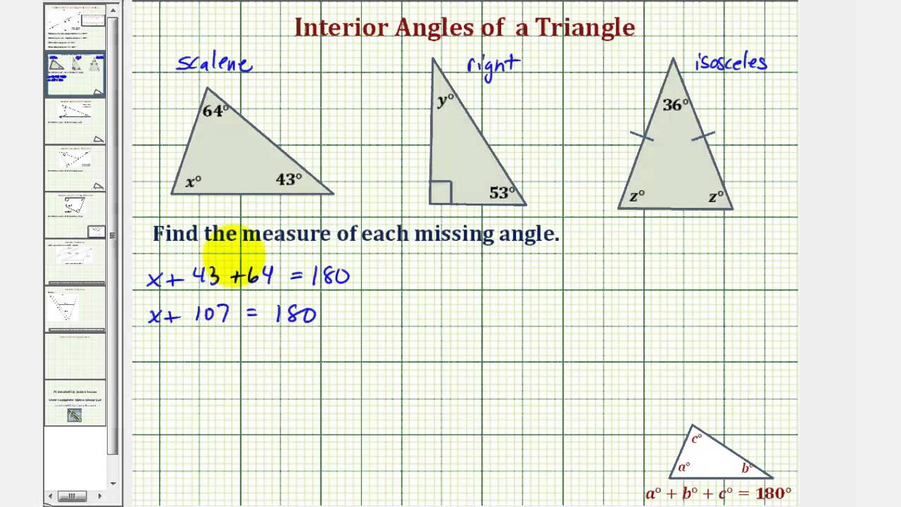 Ex find the measure of an interior angle of a triangle youtube What do exterior angles of a triangle add up to
