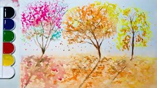 Видео урок по рисованию акварелью  Осенний пейзаж