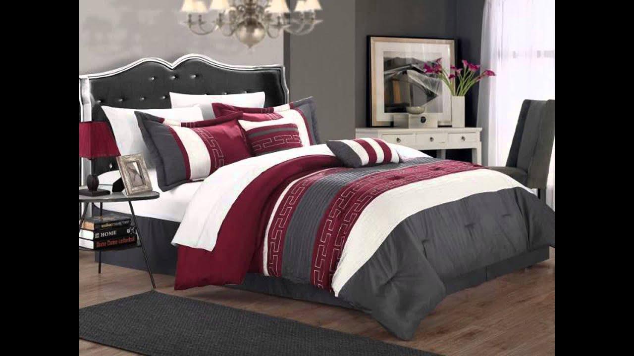 Comforter Set Queen Size Burgundy - YouTube