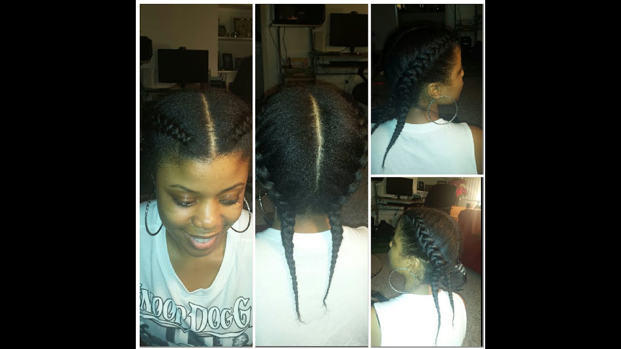 Two French Braids On Natural Hair Qucik And Easy Style