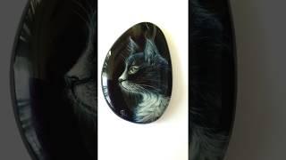 Чёрный кот, кулон с лаковой росписью