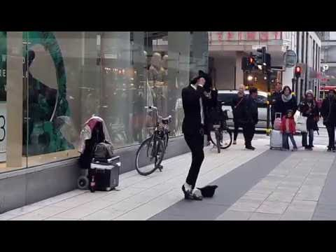 Michael Jackson street dancing in central Stockholm