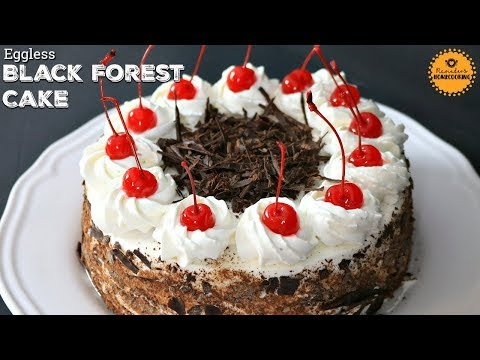 EGGLESS BLACK FOREST CAKE with Cherries & Whipped Cream