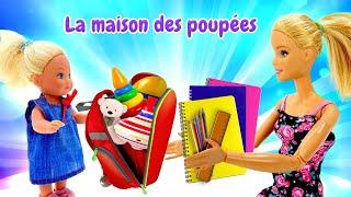 Evi se prépare pour la rentrée scolaire. Vidéo en français de Barbie et sa famille.
