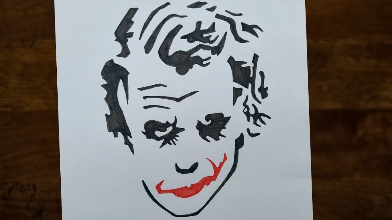 Easy Way To Draw Joker The Dark Knight Heath Ledger How To Draw Joker Face By Colour Markers Youtube