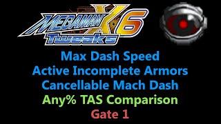 [TAS Comparison] Tweaked Mega Man X6 - Max Dash Speed,  AIA and CMD - Gate 1