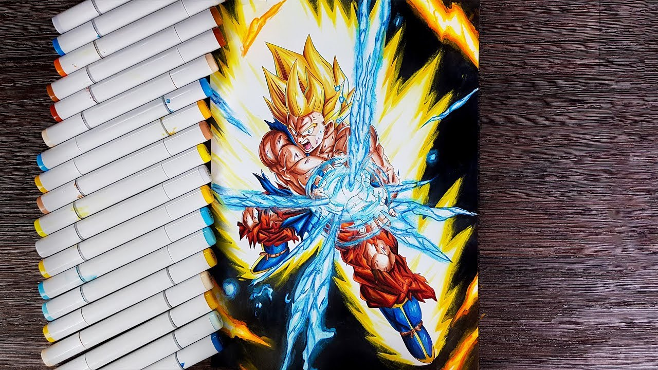 Drawing Goku Unstoppable Super Saiyan Kamehameha - YouTube