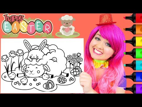 Coloring Cute Easter Bunny & Animals Coloring Page Prismacolor Markers | KiMMi THE CLOWN