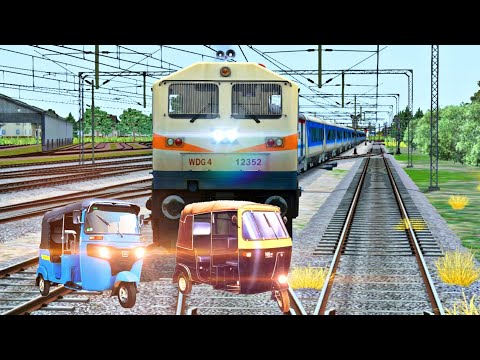 Crazy autorickshaw struck the traffic at unmanned level crossing in indian train simulator