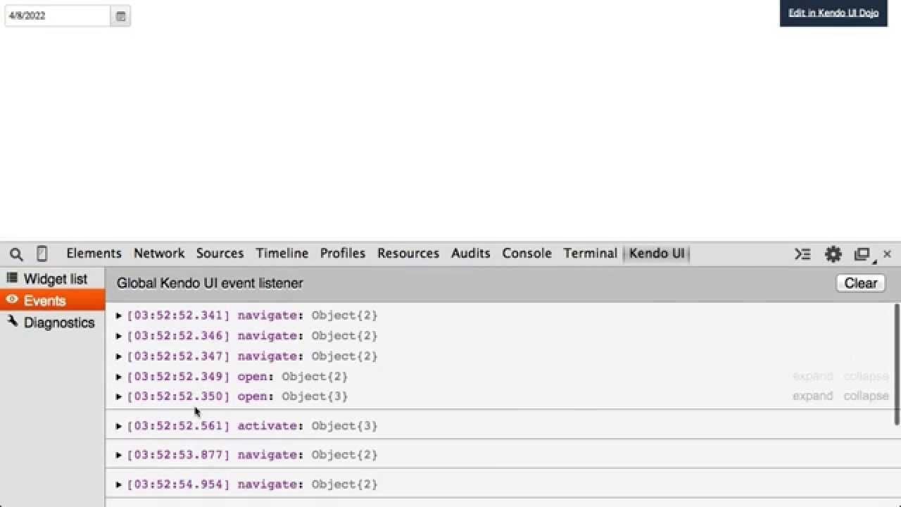 Kendo UI Chrome DevTools Inspector