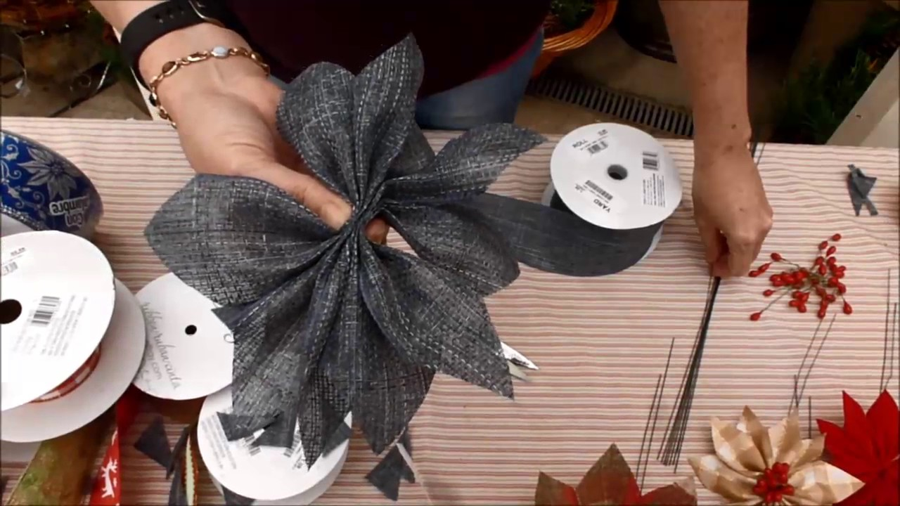 Willey Farms - Make a Poinsettia bloom using ribbon - YouTube