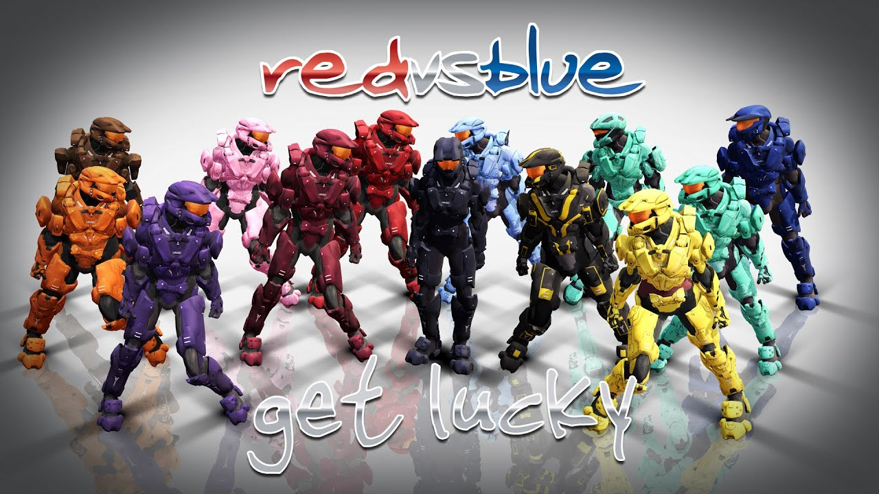 Mmd Red Vs Blue Get Lucky Youtube