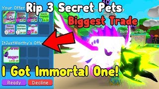 My Biggest Trade Ever! Traded My 3 Secret Pets For Immortal One! - Roblox Bubble Gum Simulator