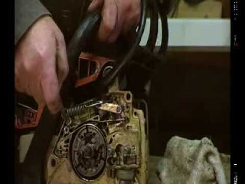 Stihl MS 230 , MS250 rebuild, part 5 Chain brake, band, main spring, lever centring spring