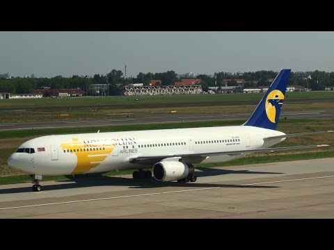 Mongolian Airlines Boeing 767 Bouncy Landing at Berlin Tegel Airport HD (1080p)