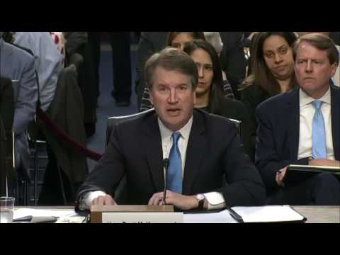 """Supreme Court nominee Brett Kavanaugh says he believes the first thing that makes a good judge is """"independence."""" Amid constant disruptions from protesters, Kavanaugh is answering questions in front of the Senate Judiciary Committee."""