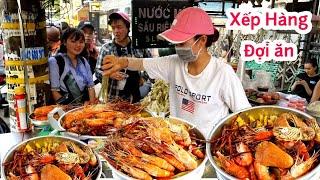 Xếp hàng dài đợi ăn tôm càng xanh, tôm mũ ni (Kiểu mỹ) Chỉ 29k ở Sài Gòn