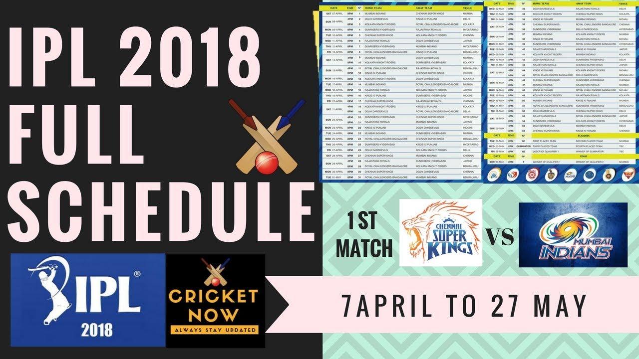 Match list 2018