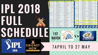 IPL 2018 SCHEDULE , IPL 2018 FULL SCHEDULE , IPL 2018 MATCH LIST