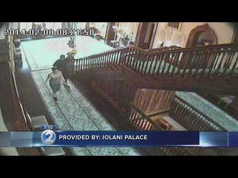 Iolani Palace surveillance video catches vandals in the act