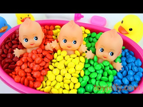 download Learn Colors M&M's Chocolate Triple Baby Doll Bath Time and Surprise Toys Play Doh Molds for Kids