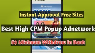 India's Best Highest Paying Popup Adnetwork For Small Publisher 2019 || Low Minimum Payment