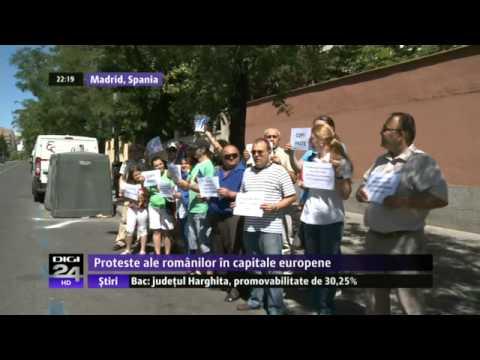 DIGI 24  Spania Proteste ale românilor din străinătate