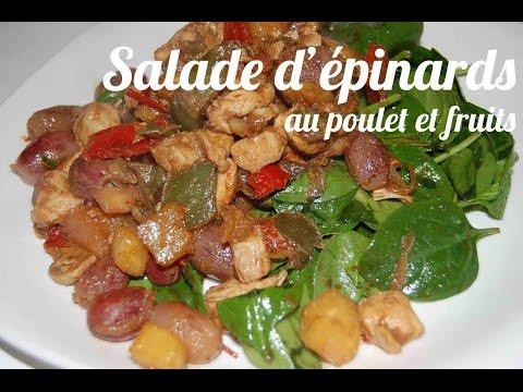 salade-d'épinards-au-poulet-et-aux-fruits